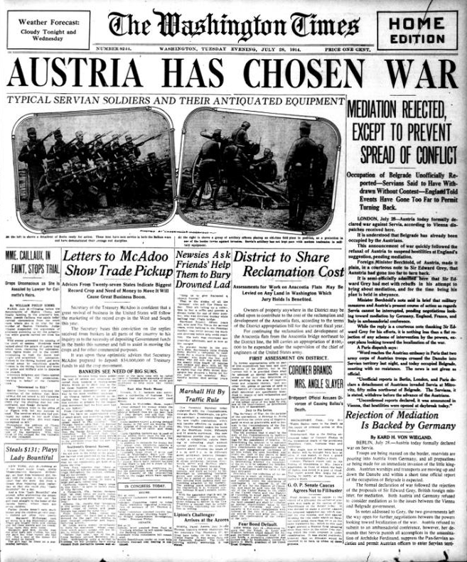 the conflict between serbia and austria the cause of european war Start studying world history chapter 14 review in the initial conflict between serbia and austria groups in the european countries feel after the war.