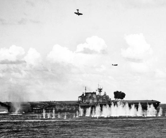 USS Hornet (CV-8) under fire