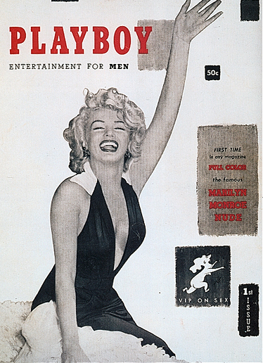 """First issue of Playboy magazine, featuring a black-and-white photo of Marilyn Monroe in a dress to make it interesting promising inside full-color pictures of her nude. This first issue is the only issue of Playboy not to have the date on the cover. Hugh Hefner said he was not sure there would be a second issue. Also, this is the only cover that does not have an image of a """"bunny"""" on the cover."""