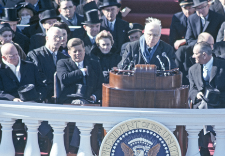 UNITED STATES - JANUARY 21:  Robert Frost reads a poem at John Kennedy's inauguration, The Capitol, Washington, D,C  (Photo by B. Anthony Stewart/National Geographic/Getty Images)