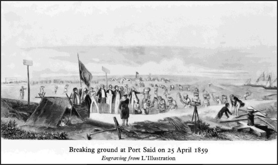 suex canal ground breaking. Construction began on the Suez Canal in 1859, and took 10 years and an estimated $100 million to complete.