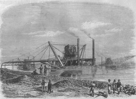 SUEZ CANAL: Under construction. Dredges and Elevators at work, old print, 1869