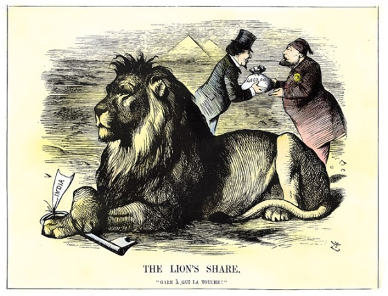 Great Britain originally opposed construction of the Suez Canal but soon recognized its crucial role in the route to India. In The Lion's Share, British Prime Minister Disraeli purchases a controlling interest in the Suez Canal Company.
