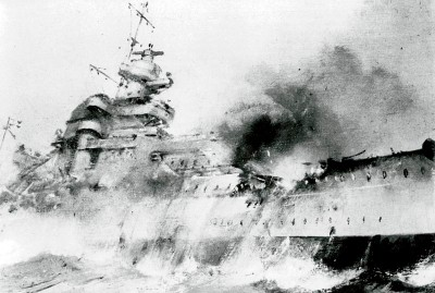 WORLD WAR II: BISMARCK.  Sinking of the German battleship 'Bismarck' in the North Atlantic, 27 May 1941.
