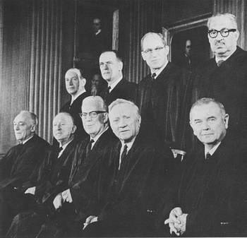 The Warren Court. Front: John Marshall Harlan, Hugo L. Black, Earl Warren, William O. Douglas, William J. Brennan, Jr. Second row: Abe Fortas, Potter Stewart, Byron R. White, Thurgood Marshall