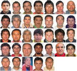 Order of Rescue: Florencio Avalos (31), Mario Sepulveda (39), Juan Illanes (51), Carlos Mamani (23), Jimmy Sanchez (19), Osman Araya (30), Jose Ojeda (46), Claudio Yanez (34), Mario Gomez (63), Alex Vega (31), Jorge Galleguillos (56), Edison Pena (34), Carlos Barrios (27), Victor Zamora (33), Victor Segovia (48), Daniel Herrera (27), Omar Reygadas (56), Esteban Rojas (44), Pablo Rojas (45), Dario Segovia (48), Yonni Barrios (50), Samuel Avalos (43), Carlos Bugueno (27), Jose Henriquez (54), Renan Avalos (29), Claudio Acuna, (35), Franklin Lobos (53), Richard Villarroel (27), Juan Aguilar (49), Raul Bustos (40), Pedro Cortez (24), Ariel Ticona (29), Luis Urzua (54)