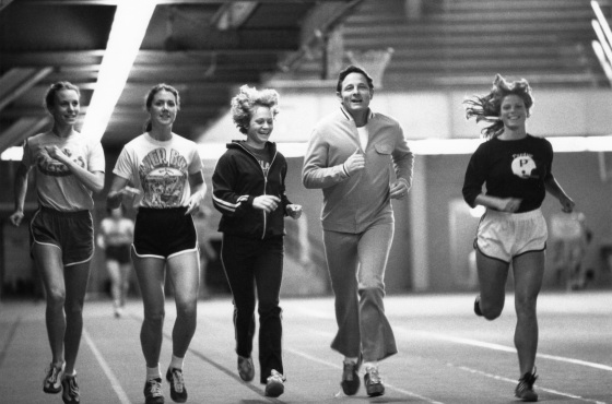 Senator Bayh exercises with Title IX athletes at Purdue University, ca. 1970s.